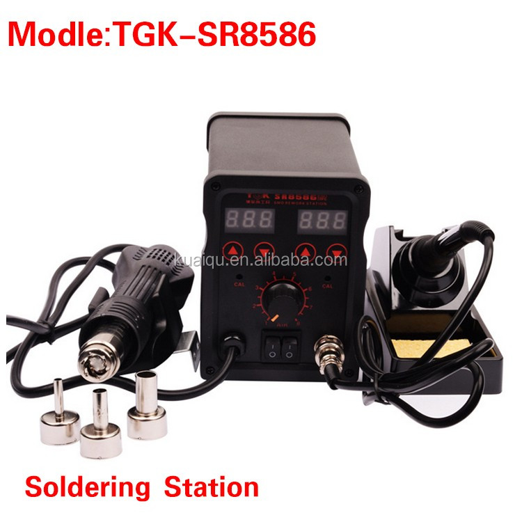 High quality TGK SR8586 multifunction professional hot air gun soldering iron station with 3 nozzle