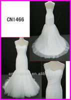 2014 guangzhou sexy real asymmetrical tulle mermaid one shoulder wedding gowns/bridal dress with sparkling beading motif CN1466