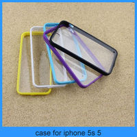 case for iphone 5 5s crystal case clear full transparent pc hard case with tpu bumper (PT-I5277)