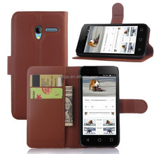 2015 New design lychee pu leather case with wallet and card slots for Alcatel One Touch Pixi 3(4.5) OT- 4027N