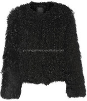 real genuine black goat shearling leather coat for women winter