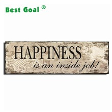 "Decorative Wood Wall Hanging Sign Plaque ""Happiness"" Beige Brown Home Decor - 13.8x4.3 Inches"