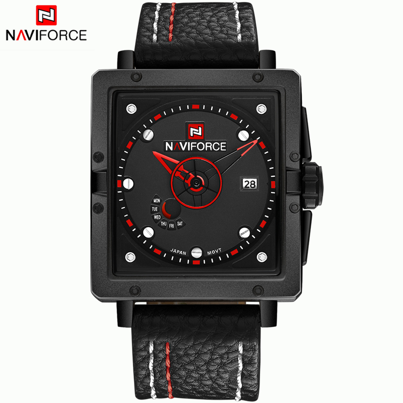 2016 NAVIFORCE Brand Leather Men Quartz Watch relojes hombre wristwatch Water Resistant