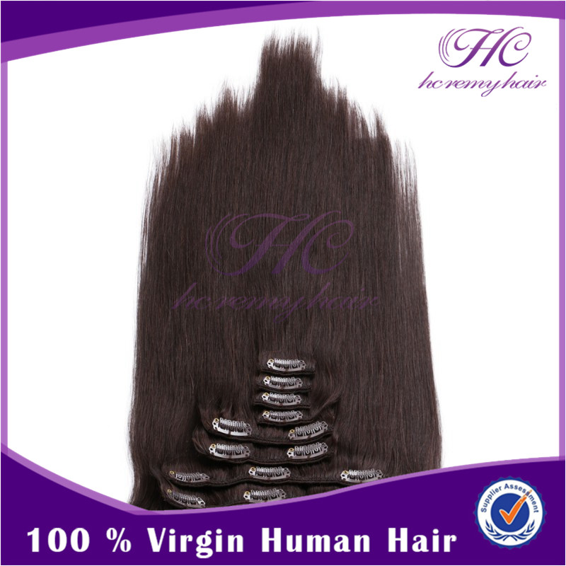 Best Price No Shedding 26 Inch Clip-In Virgin Indian Straight Remy Human Hair Extensions