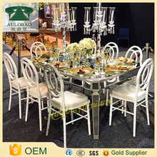 Mirror glass long stainless steel table and chairs
