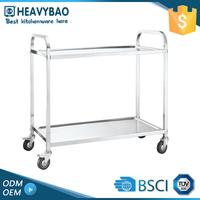 Heavybao Top Quality Knocked-down Stainless Restaurant Steel Meat Trolley Utility Cart 2 Shelf
