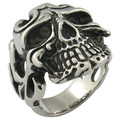 mens jewelry 18K gold plated big skull men's stainless steel ring