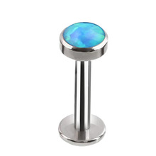 Stainless steel internally threaded opal labret nose stud