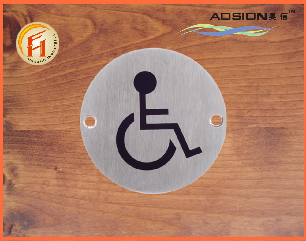 China factory promotion stainless steel round shape wheelchair door sign plate
