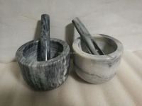 Natural marble mortar and pestle