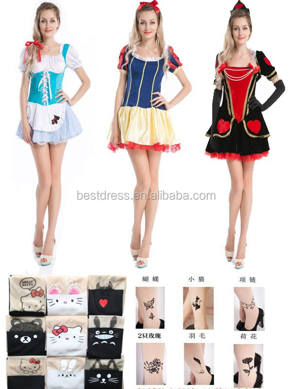 Walson wholesale Beauty fairy tale costume with tatoo stocking fancy dress