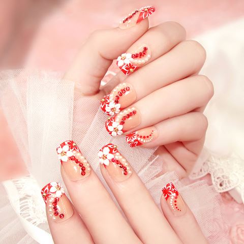 Linked Fashion long artificial nails full cover with nails tips hot color