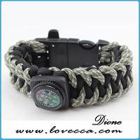 Survival Bracelet. ,with compass, fishing line, hooks and weights, fire starter