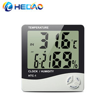 Hygrometer Clock Time C/F LCD Digital thermometer htc-1