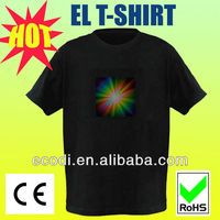hottest ! high brightness sensored el logo flashing t shirt/top quality el animated flashing t-shirt