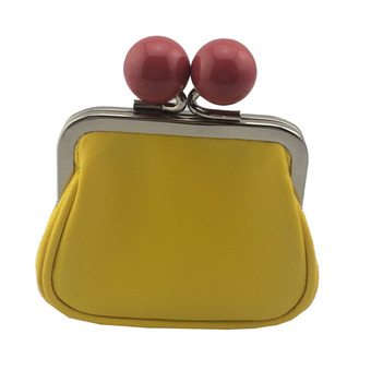 Yellow Saffiano PU Cute Coin Purse With Clasp