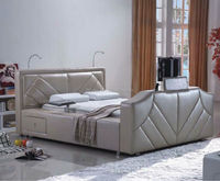 Modern Luxury Leathers TV Bed With TV