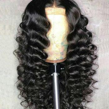 "Charming Big Body Wave Malaysian Virgin Hair Black Women 13*6"" lace front wig Pre Plucked 6inch deep parting"