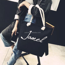 Hot Sale Fashion Rope Handle Custom Logo Printed Heavy Duty Cotton Canvas Tote Bag