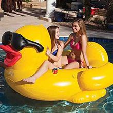 Yellow colored summer pool swimming inflatable PVC duck water float