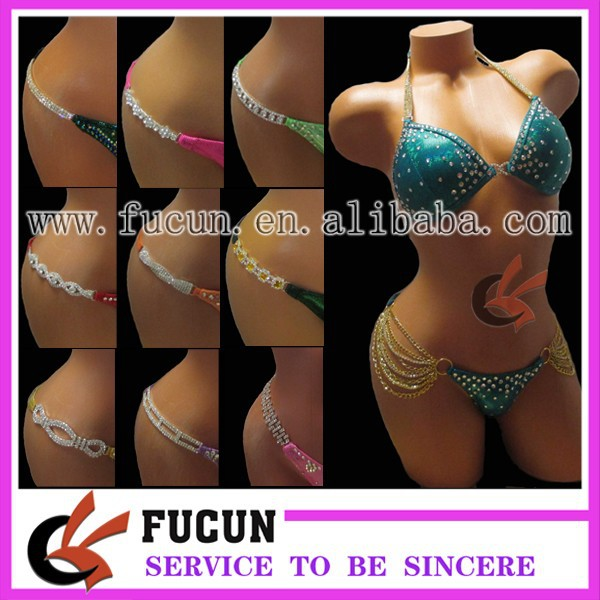 2016 competiton bikini figure posing suits crystal connectors swimwear bikini