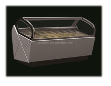 Curved glass door deep freezer/ ice cream display chest freezer /desktop ice cream display cabinet