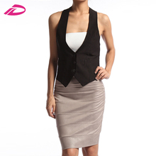 Fashion Women's Tuxedo Dress Vest Waistcoat Sleeveless Satin Racerback Jacket