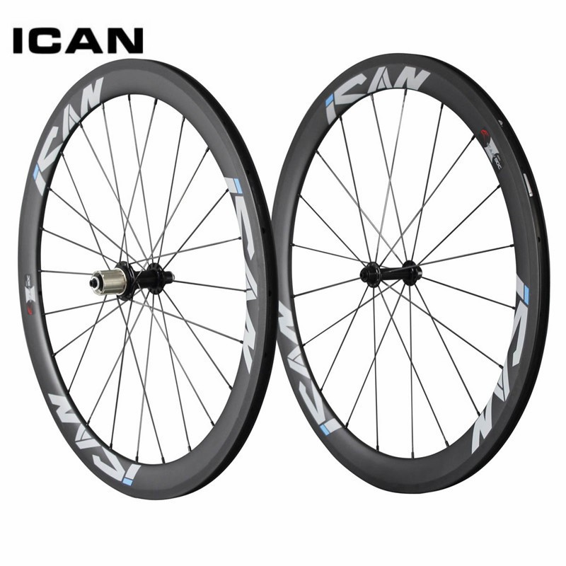700C Full Carbon Wheels ICAN 50mm Clincher Carbon Road Rims Wheels Road Bicycle Wheels