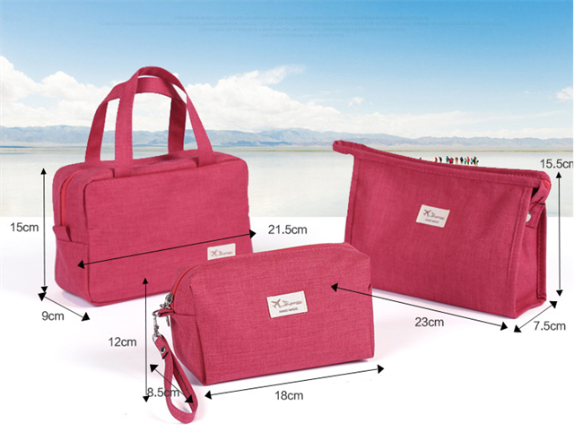 Hot sale promotional fashion travel cosmetic bag with handles