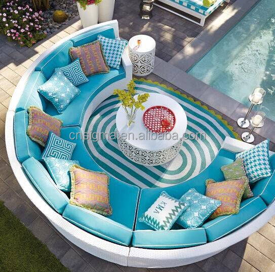 outdoor pool furniture round shape sofa set lounge sofa curved