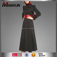 New Ladies Fashion Baju Muslim Abayas 2016 Latest Design Formal Black Jacquard Fabric Baju Muslim Women Abaya