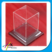 Custom clear plastic acrylic cover wooden base small display cube box