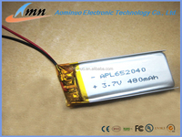 652040 3.7v 480mAh Lipo Battery Rechargeable Lithium Polymer Battery For Blueteeth