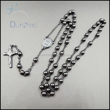 stainlesss steel black beaded rosary necklace