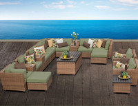 2016 modern 10 seater banquet PE rattan sectional furniture set with recliner and storage table waterproof outdoor sofa