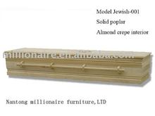 Nantong Millionaire solid poplar jewish light color casket and coffin