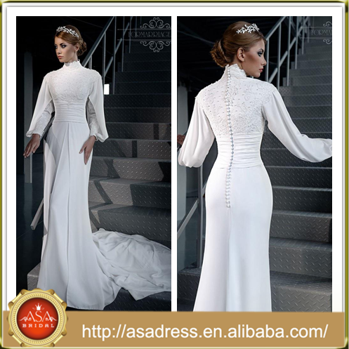 LB04 2015 New Fashion Long Sleeve Bride Gowns Long Tail Lace Applique Beading Chiffon Love Wedding Dress