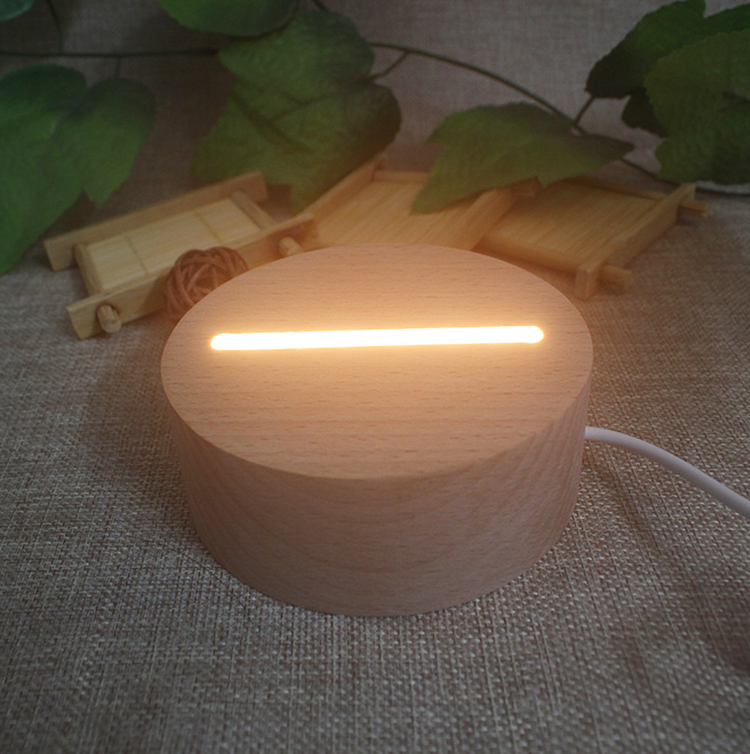 Factory Price Nordic Solid Wood Imported Beech 3D Table Battery Light LED Lamp Base etch