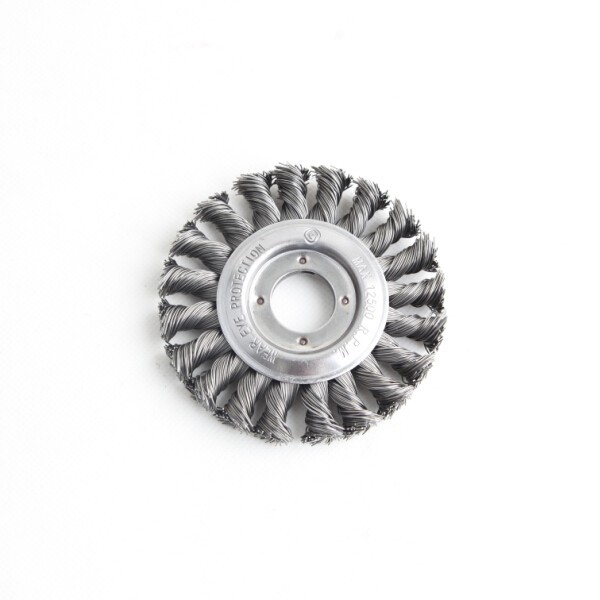 Twist knot wheel brushes with arbor hole, diameter 100mm or 4""