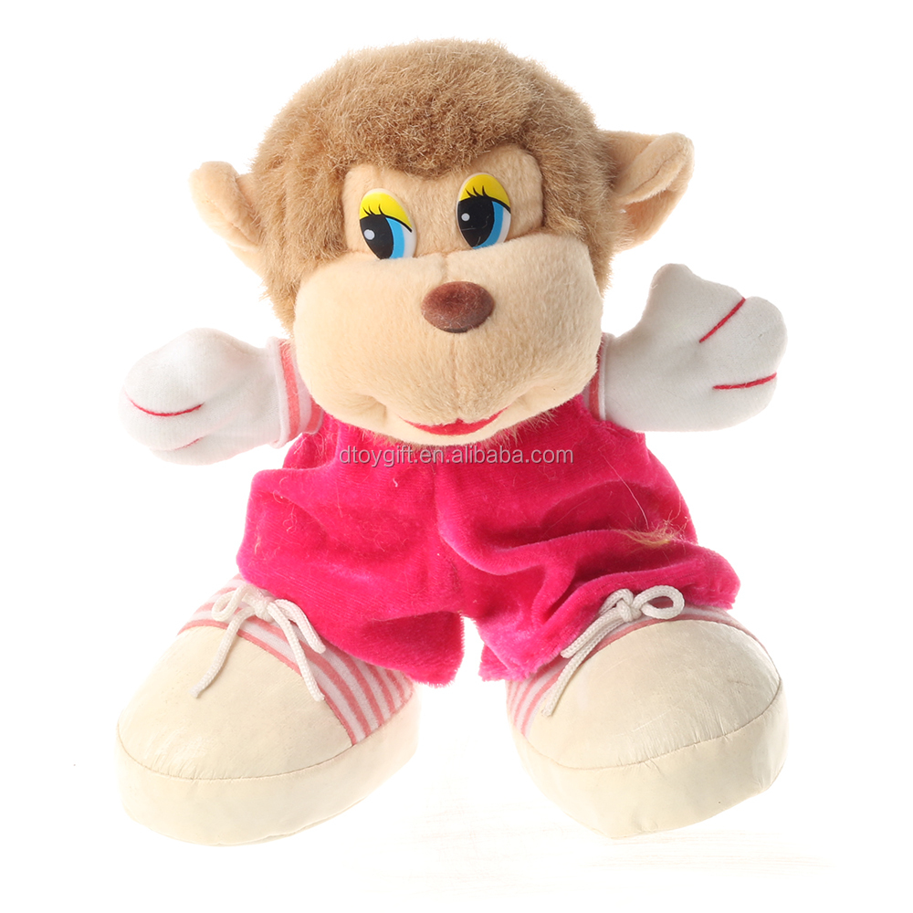 Plush girl monkey with cothes and shoes stuffed monkey toys