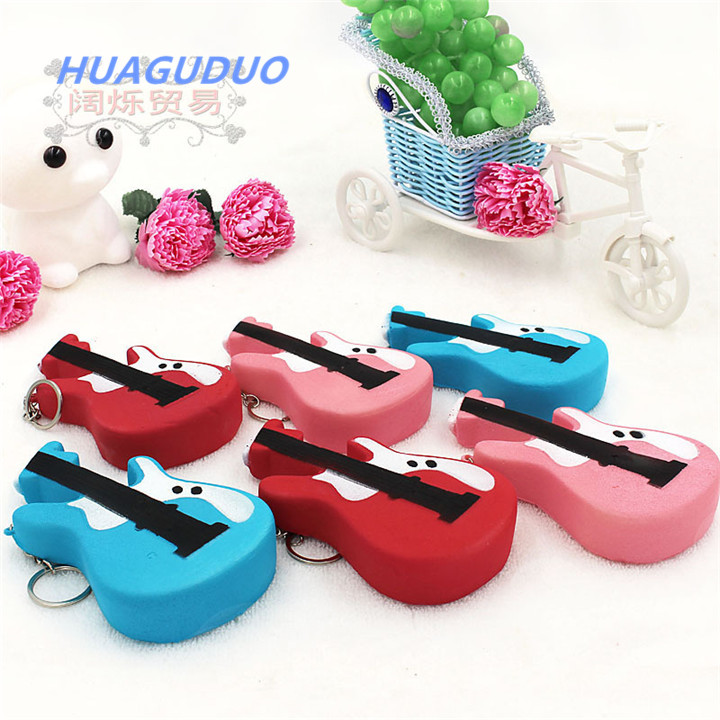 India Best Selling Return Gifts For Birthday PU Simulated Violin Key Ring Chain Wholesale Squishy Keychain