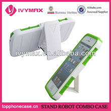 Stand robot combo case with holster for iphone5