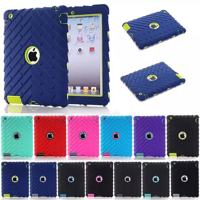 Tire Heavy Duty Hybrid Rugged Rubber Hard Case for ipad 2 / 3 /4