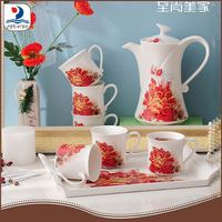 10223-8/S hot selling nice decals porcelain 8pcs Chinese tea table set with tray plate