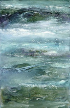 sunny day white transparent sea water on the surface of the stone moving 100%handmade classic decoration oil painting in canvas