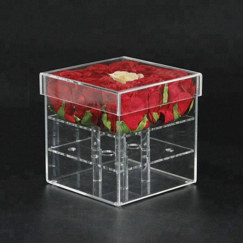YAGELI 15 cm height <strong>Acrylic</strong> 9 holes Luxury Rose Packaging Box with Cover