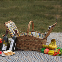 2016 New 4 Willow picnic basket for 4 Person tableware rattan outdoor wicker picnic basket with a lid boxes of fruit and vegetab