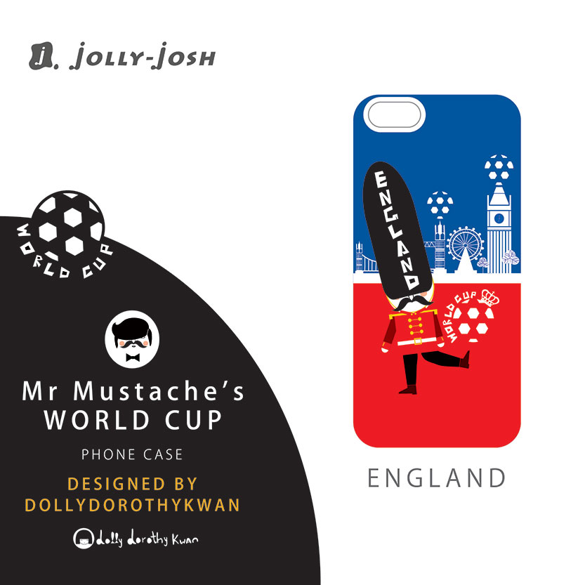 Case for iPhone World Cup - Jolly-Josh - Mr Mustache's World Cup Collection (England) - Metallic Finish