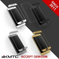 KMTC 3D Round-edge AG Treatment Clear Gold Tempered Glass Screen Protector For S7 Edge Silver