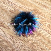 Wholesale Fluffy Hairy Multi Rainbow Color Faux Raccoon Fur ball accessory fake fox fur pom poms